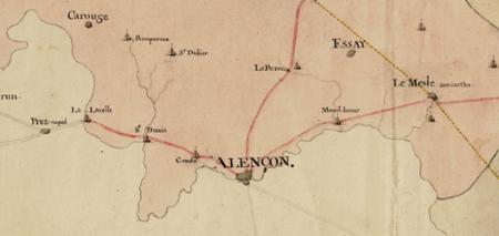 Carte itinéraire de la généralité d'Alençon